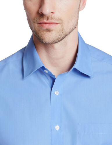 Ex Marks /& Spencer Chemise Homme Formel Manche Longue Bleu Clair Col classic fit