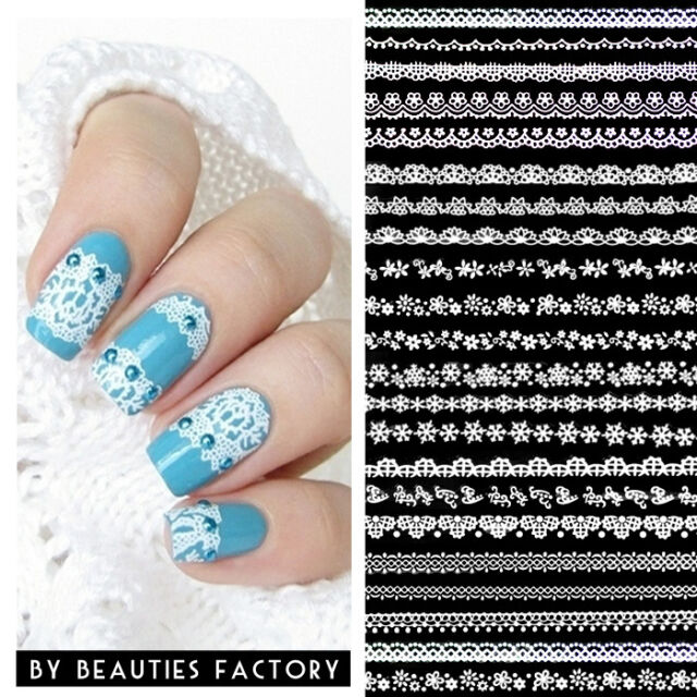 1 x White Lace Nail Art Long Strip Sticker UK Local Dispatch SSS