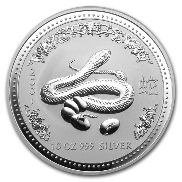 2001 Australia 10 oz Silver Year of the Snake BU - SKU #9027