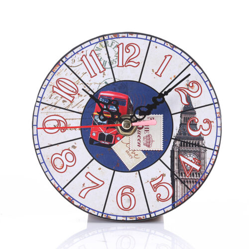 Wall Clocks Vintage Rustic Wooden Wall Clock Antique Shabby Chic ...