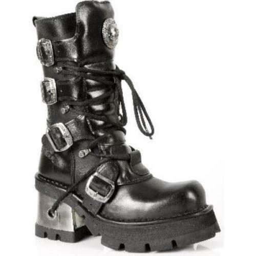 NEWROCK 373 S3 Ladies Ladies Ladies Women Black Leather Heel Gothic Punk New Rock Biker Boots 894901