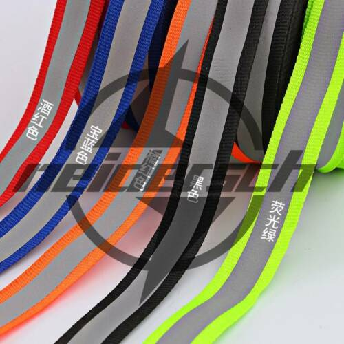 25MM 50m Reflective Tape Strip Sew-On Silver Fabric Trim Safty Vest Black New