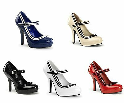 PLEASER Pinup Couture SECRET-15 Sexy Heel Platform Mary Jane Pump With Trim