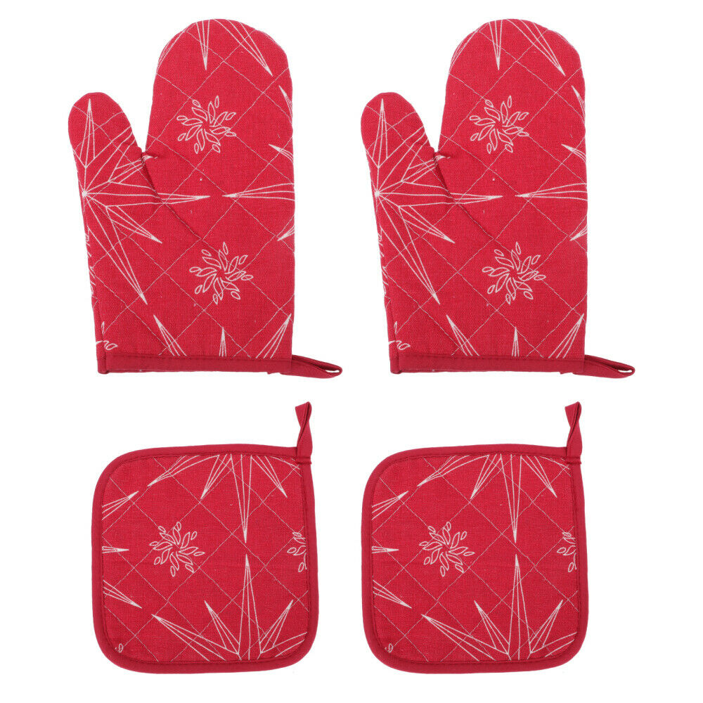 1Set Oven Mitts Heat Resistant Mitts Xmas Glove for Decor Xmas