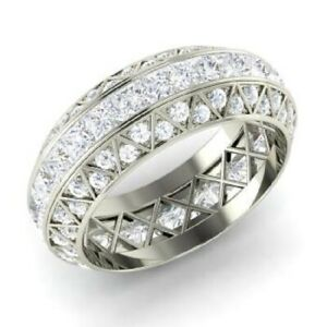 3.60 Ct Solitaire Real Moissanite Engagement Solid 18K White Gold Eternity Band