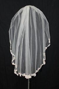 NWT Ansonia bridal veil 721 Diamond White/silver lace edge, elbow length, $329