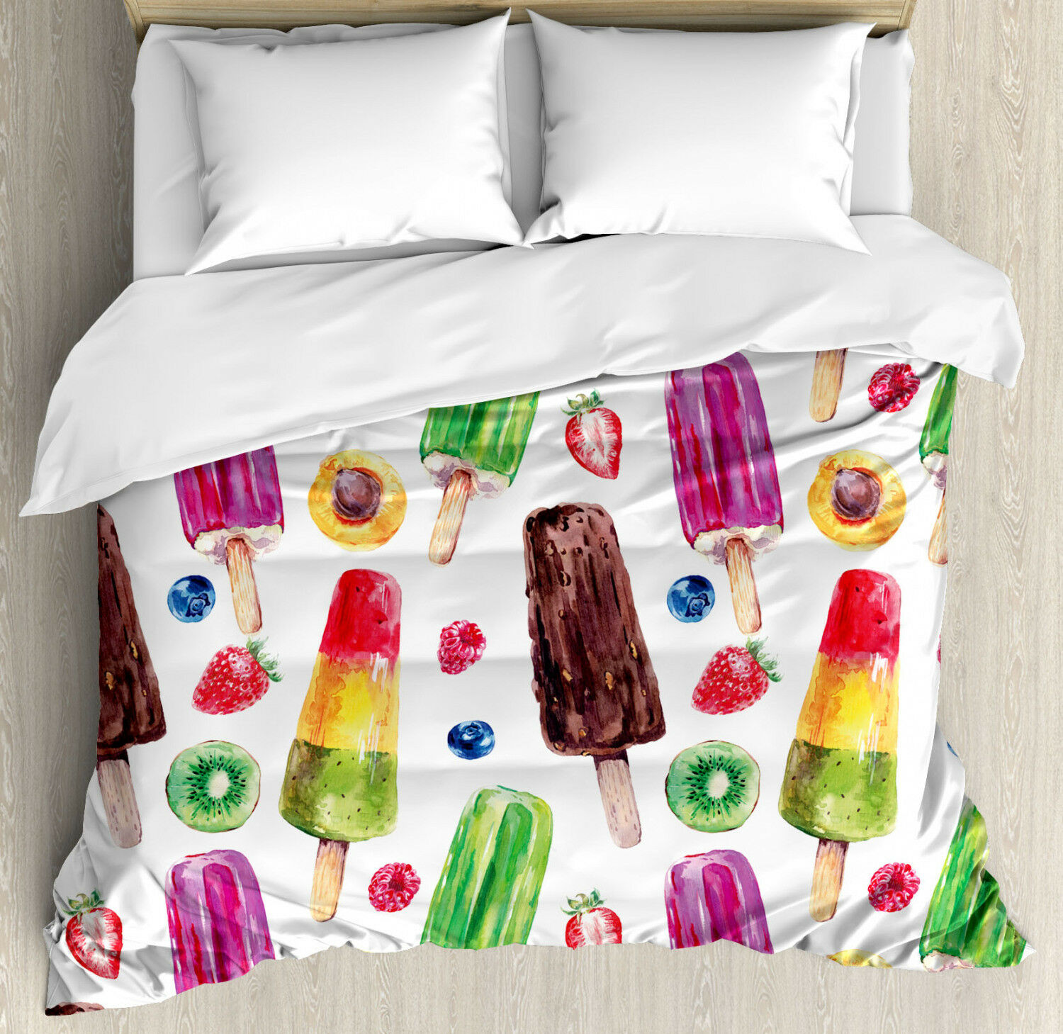 Sweet Duvet Cover Set with Pillow Shams Cute Vivid Ice Creams Print