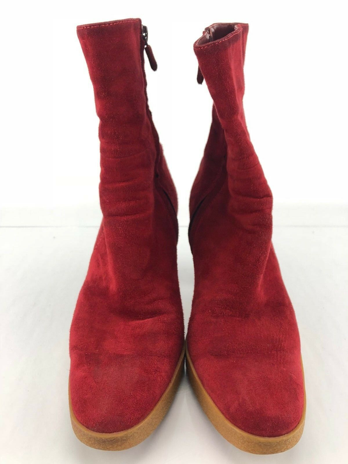 Tods High Heel Boots - Red Leather Side Side Side Zip Ankle Booties Women's Sz 36.5 US 6 c5eb1d