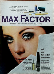 Max Factor Eye Shadow Stick & Shiny Eye-Liner Vintage Advertisement 1968