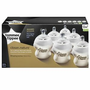 Tommee-Tippee-Closer-To-Nature-6x-150ml-Easi-Vent-Baby-Feeding-Bottles-0m
