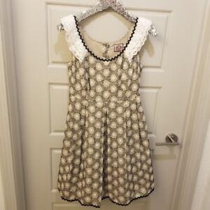 Juicy-Couture-Vtg-Lace-Tan-Midi-Prairie-Dress-Lined-Sleeveless-Sz-4