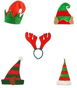 Adult mens womens christmas party hat fancy dress costume elf hat