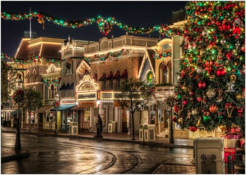 Disneyland at Christmas Scene Magical Large Poster Art Print A0 A1 A2 A3 A4 Maxi