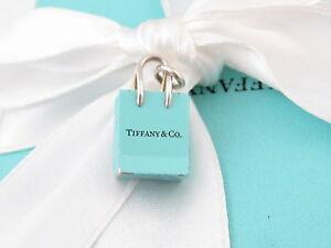 9bdae193a6 TIFFANY & CO SILVER BLUE ENAMEL SHOPPING BAG CHARM 4 NECKLACE ...