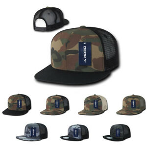 8826e95f9e121 Image is loading Decky-Army-Camouflage-Camo-Flat-Bill-Trucker-Hats-