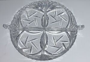 Vintage-Clear-Cut-Glass-Divided-Relish-Tray-Dish-Handles-Starburst