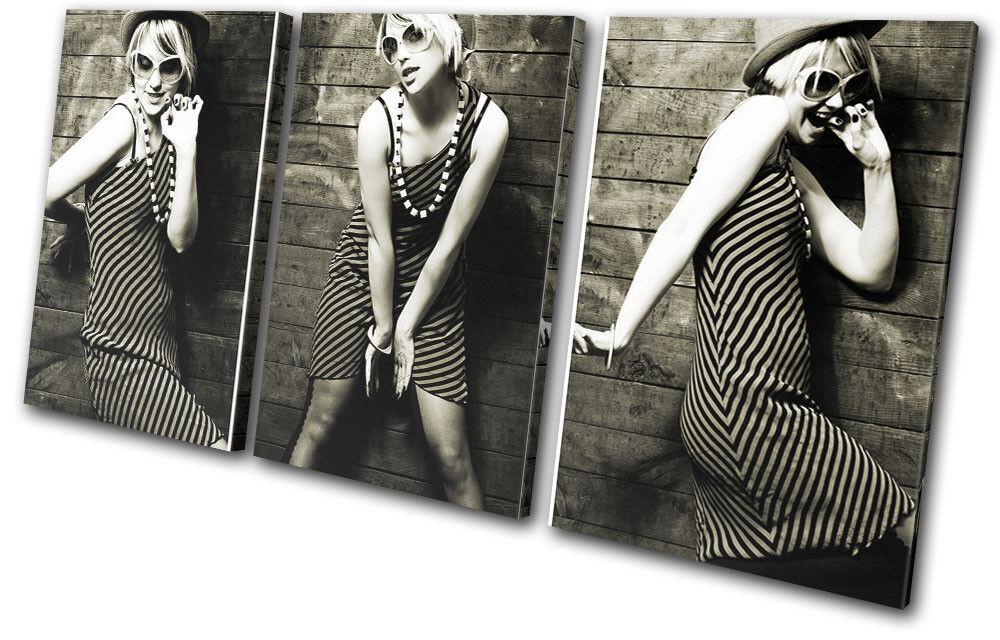Female Portrait B & W Fashion TREBLE Leinwand Wand Kunst Bild drucken