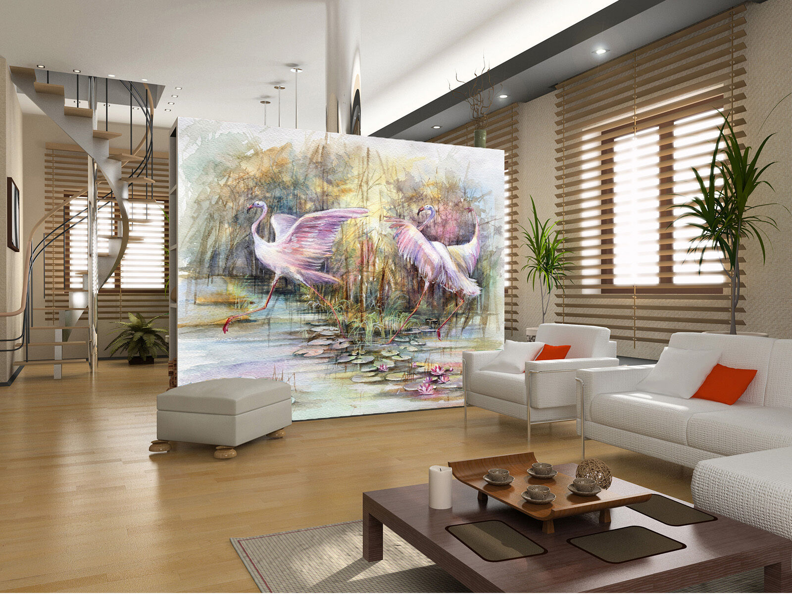 3D Two egrets painted wall Paper Print Decal Wall Deco Indoor wall Mural