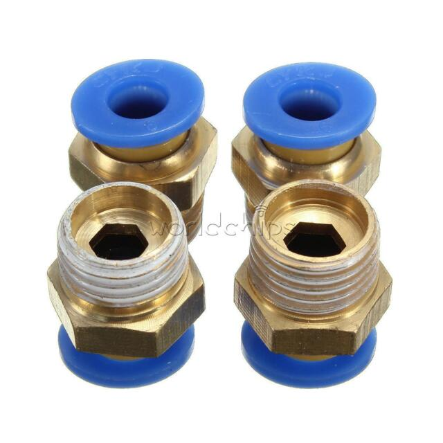 "4PCS BSP Male 1/4"" Thread Straight Push in Fitting Pneumatic Hose Connectors 6MM"