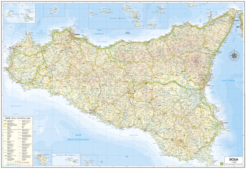 Cartina Della Sicilia Dettagliata.Sicilia Cartina Regionale Murale 97x68 Cm In Piano Senza Aste