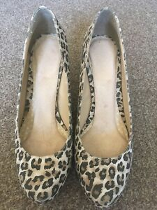Brown Leopard Print Shoes Heels Size