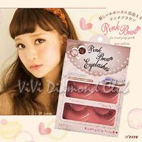 Japan Fits Love Switch Pink Brown False Eyelashes W/ Glue Set (2 Pairs/box)