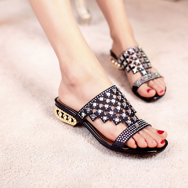 New Fashion Womens Low Chunky Heels Rhinestones shoes Sandals Slip On Hollow Out