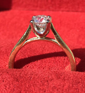 Ladies 0.7ct Solitaire Canadian Diamond 18ct Yellow Gold  Engagement Ring Size L