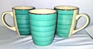 Set-Of-3-Royal-Norfolk-Coffee-Tea-Mug-Cups-Greenbriar-International-Teal-Swirl