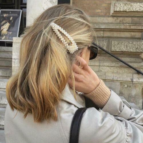 new Women Pearl Hair Clip Snap Barrette Stick Hairpin Bobby Hair Accessories