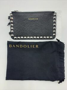 Bandolier Pyramid Stud Pebble Leather Zip Pouch Purse Bag Crossbody Phone Case