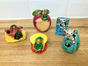 Vintage-1960s-Japan-Ornaments-Mouse-In-Phone-Pixie-In-Apple-Cat-In-Bag-Etc-Retro