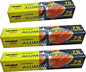 1 Aluminium Foil 450mm x 75m and 1 300mm x 300m Strong Cutter Box Food Wrap