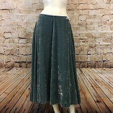 Soft Surroundings Womens Tall Medium Maxi Skirt Velvet A-Line Blue Green