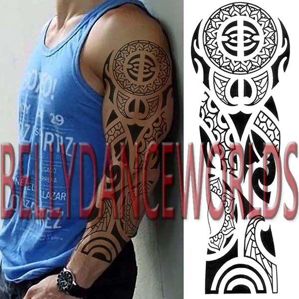 Full Arm Sleeve Celtic Tribal Totem Temporary Tattoo Man Body Art