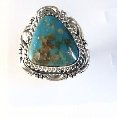 Navajo Native American Sterling Silver Handmade Kingman Turquoise Ring 436