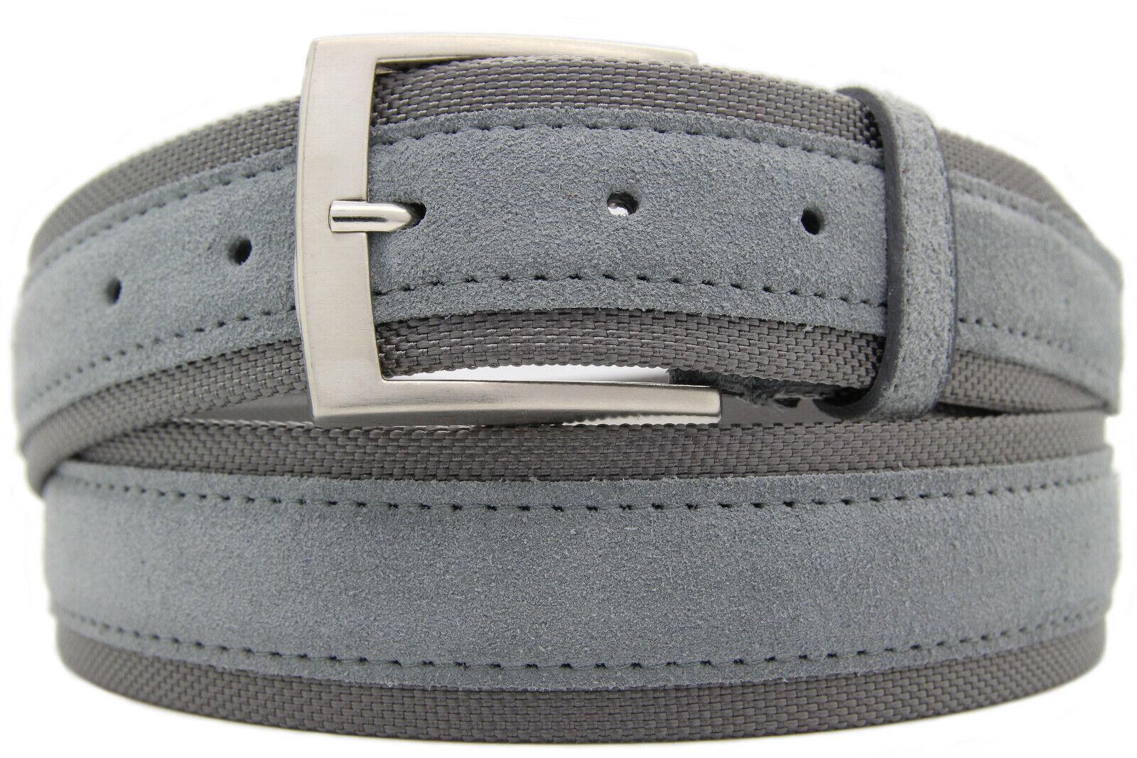 Italian Suede Belt Nylon Fibres Mens Womens Suede Belt Grey 4cm Wide