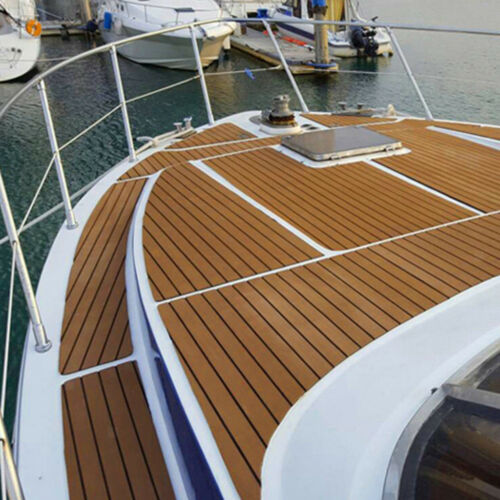 240x5.8cm 6mm EVA Schaum Faux Teak Boat Deck Sheet Decking Mat Braun Yacht