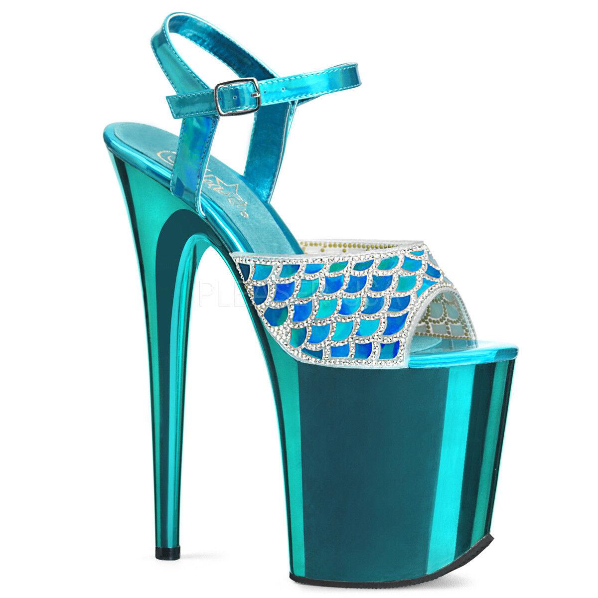 8 8 8  azul plataforma Plataforma de Disfraz de cola de sirena Stripper Tacones Pleaser Flamingo  compra limitada