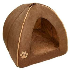Image is loading Indoor-Dog-House-Bed-Brown-Pet-Soft-Warm-  sc 1 st  eBay & Indoor Dog House Bed Brown Pet Soft Warm Cushion Pad Washable Cat ...