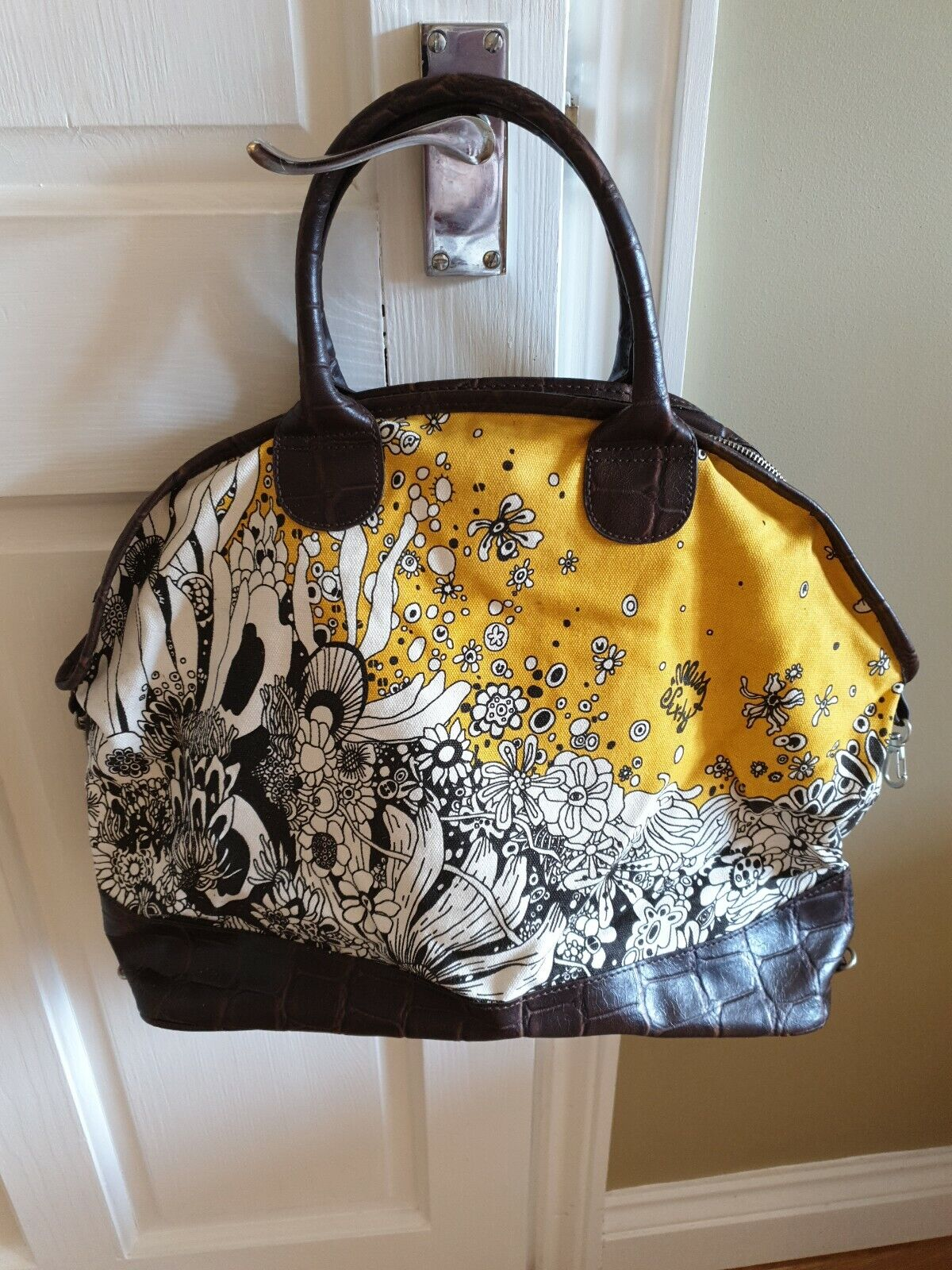 MISS SIXTY Handbag Brown Leather and Black/White/Yellow Cotton Tote 2 Handles