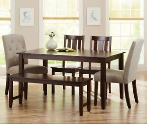 Image Is Loading Dining Table Set 6 Piece Bench Kitchen Parson