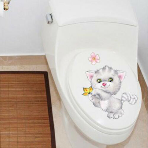 Cat Kitten Toilet Seat Sticker Vinyl Art Removable Bathroom Wall Stickers MP