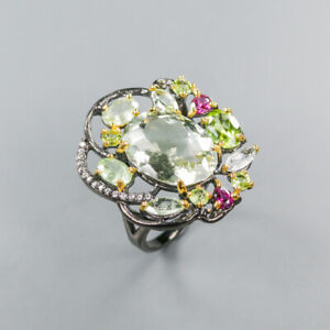 Green Amethyst Ring 925 Sterling Silver Size 8.5 /RT20-0113
