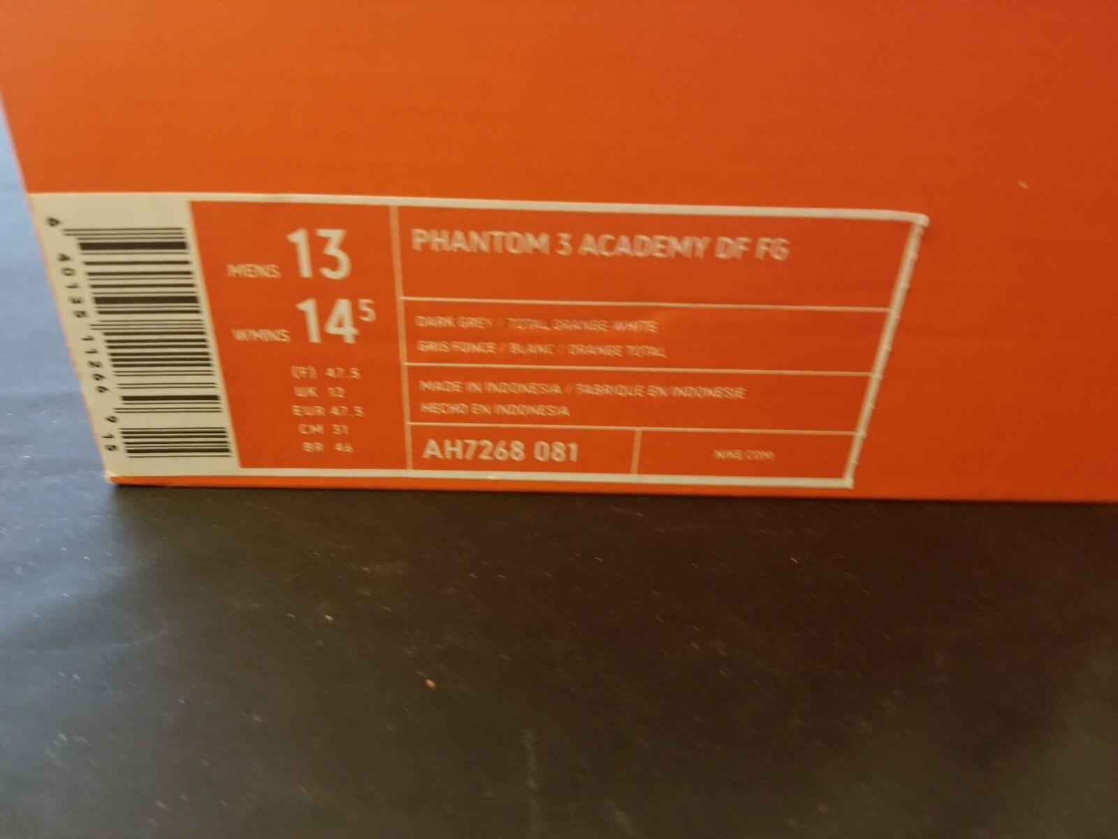 Für nike größe 13 männer phantom 3 3 3 akademie df fg dunkelgrauen & orange mit neuen 172c73