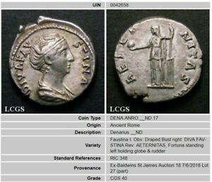 147 Ad Vf Faustina I Silver Denarius Coin Lcgs 40, Fortuna Holding Globe.-afficher Le Titre D'origine Une Large SéLection De Couleurs Et De Dessins