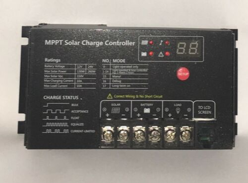 USA SHIPPED Genuine MPPT 10A Solar Charge Controller Timer 130W//260W Free 3-Day