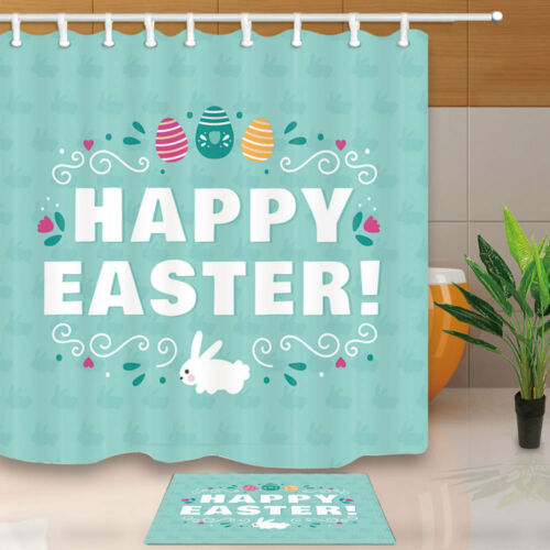 Happy Easter rabbit pattern Shower Curtain Bathroom Decor /& 12hooks 71*71inches