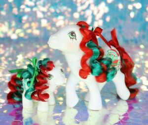 Vintage-My-Little-Pony-MERRY-TREAT-amp-BABY-STOCKINGS-Alt-Rehair-G1-MLP-BO031