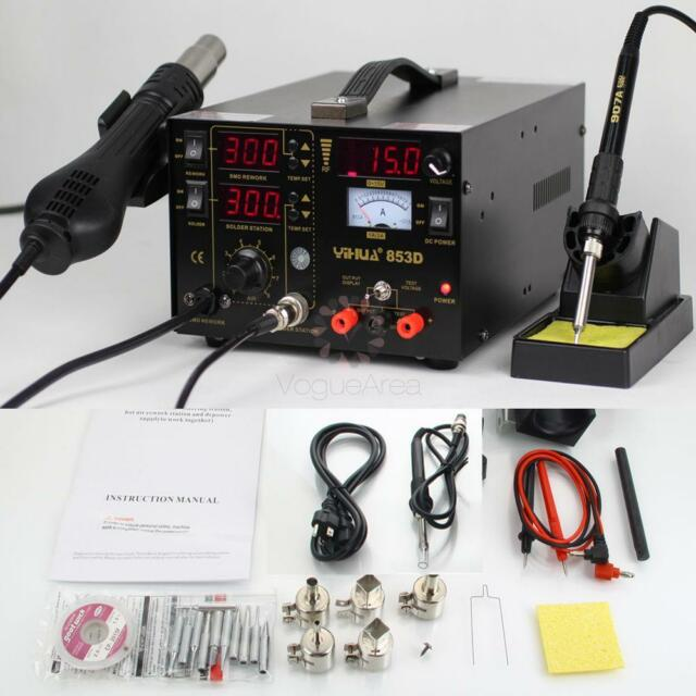 853D 3in1 ESD Rework Hot Air Gun SMD Soldering Station Kit w Iron Stand Tip 110V
